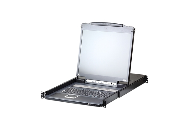 1-Local/Remote Share Access 8-Port PS/2-USB VGA Single Rail LCD KVM over IP